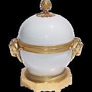 19th Century French Gilt Bronze Blanc De Chine Porcelain Covered Box