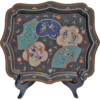 19th Century Footed Japanese Cloisonné Table Tray