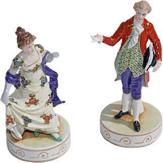 4th Quarter 19th Century (1880s) Pair Of Signed Dresden Statuetts'