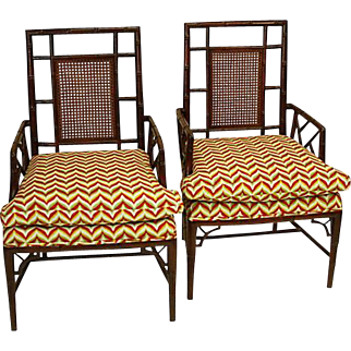Baker Chinese Chippendale Chairs, Pair