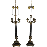 French Candelabra Lamps, pair traditional lighting brass castings
