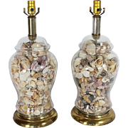 Large Brass and Glass Shell Lamps, pair