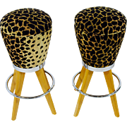 Pair of leopard skin funky bar stools