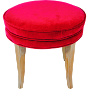 Swedish Vanity Stool beach wood new velvet fabric 1960s