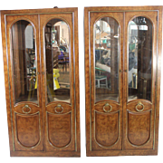 Weiman China/Curios display cabinets, pair