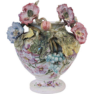 Antique French Majolica Impressionist Haviland Planter Vase With Rich Flourish Decor