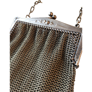 Gorgeous Antique French Lady Petite Silver Chainmail Mesh Handbag Purse Wallet Circa 1880