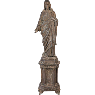 Divine Antique French Jesus Christ Sacred Heart Religious Tall Statue Sculpture Citca 1880