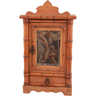 Antique French Wood Faux Bamboo Doll Mirrored Wardrobe Armoire