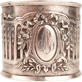 Chic Antique French Sterling Silver Napkin Ring Monogram AC with a Marie Antoinette Ribbon & Acanthus Leaves