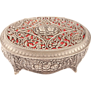 French Antique Casket Trinket Jewellery box With Floral Pattern & Red Velvet Style Art Nouveau Early 1900