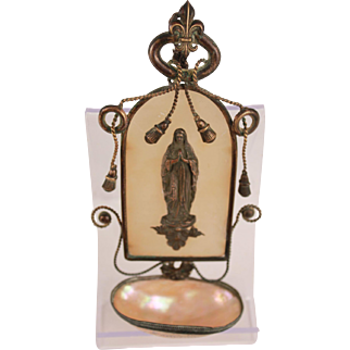 Superb Antique French Palais Royal Ormulu Bronze Virgin Mary Holy Water Font Crucifix and Mother of Pearl Lourdes Souvenir Our Lady Of Lourdes
