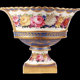 XL Fabulous Antique French Paris Porcelain Gilt Centerpiece Basket or Corbeille on Stand Hand Painted Style Sevres Napoleon III Era