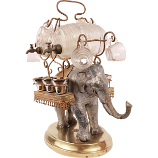 Rare Antique French Liqueur barrel set elephant figural stand caddy tantalus