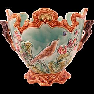 Superb Antique French Frie Onnaing Majolica Planter Cache Pot Jardiniere Circa 1880