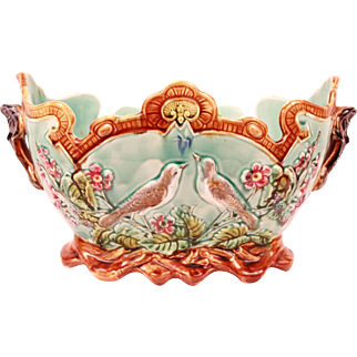 Beautiful Antique French Frie Onnaing Majolica Planter Cache Pot Jardiniere Circa 1880