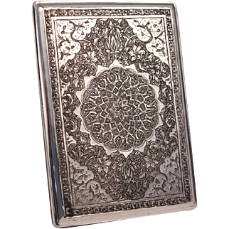 Antique Asian Mandala Sterling Silver Hand Engraved Cigarette Case