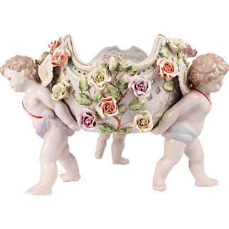 Meissen Antique German Bisque Porcelain Basket Centerpiece Figural Statue Group of Winged Putti Angel Cherub
