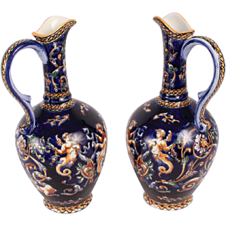 French Antique Pair of Gien Pitcher Renaissance Revival Faience Pattern