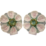 Divine Pair Of French Rare Antique Collectible Majolica Orchies Oyster Plate