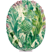 Wonderful Antique French Majolica Asparagus & Artichokes Platter Luneville Circa 1880