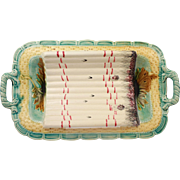 Sublime Antique French Majolica Asparagus Platter From Salins Les Bains