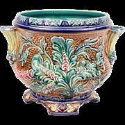 Sublime Antique French Majolica Cache Pot Jardiniere Planter Art Nouveau With Flourish decor Circa 1890