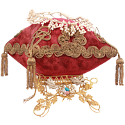 Marvelous Napoleon III Antique French Wedding Display Cushion With Its Original Wax Tiara And Ormulu Brass Stand Circa 1870