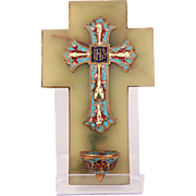 Sublime Antique French Champleve Enamel Crucifix IHS Holy Water Font In Onyx Plaque