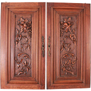 Genuine Antique French Pair Hand Carved Architectural Walnut Wood Panel Door