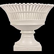 Large French Antique Empire Paris Porcelain Corbeille Basket Centerpiece On Socle 19th Century