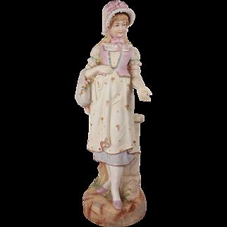 XL French Antique Biscuit Bisque La Merveilleuse Figurine Sculpture 19th Century