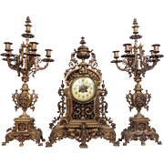Majestic XL Antique French Chateau Mougin Garniture Set Bronze Mantle Clock 19th Century