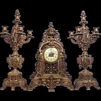 Majestic XL Antique French Chateau Mougin Garniture Set Bronze Mantle Clock 19th Century