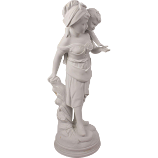 Antique French Savreux Signed Sculpture biscuit Bisque Of Tender Women And Her Child