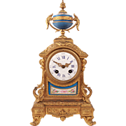 Marvelous French Antique Sevres Porcelain Ormulu Gild Mantel Clock Japy Freres Movement Napoleon III Era
