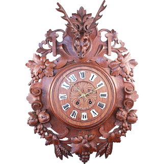 "Genuine French Victorian Antique Black Forest 26"" Wall Clock Carved Oak Wood Rare Deer's Head Hunting Relay Style"