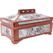 19th Century Fabulous French Antique Chinoiserie Trinket Wood Box Inlaid With Mother Of Pearl