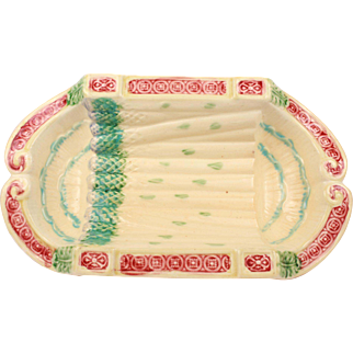 Lovely Antique French Majolica Asparagus Platter From Salins les bains Circa 1880