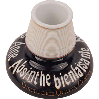 Fantastic French Vintage Collectible Advertising Porcelain Pyrogen Match Striker Holder Sainte Anne Absinthe Bienfaisante