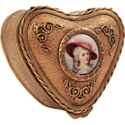 Antique French Heart Shape Jewelry Brass Box With Hand Painted Porcelain Medallion 19th Century