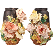 Exquisite Antique French Pair Of Majolica Vase Impressionist Floral Decor In High Relief Barbotine Chantilly France