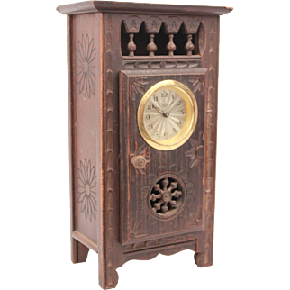 Exquisite French Brittany miniature Antique Clock Armoire Doll Furniture In Oak Wood Circa 1880 9.84""