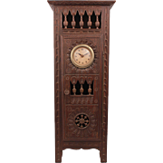 """Exquisite French Brittany Huge Antique Clock Armoire Doll Furniture In Oak Wood Circa 1880 17.72"""""""