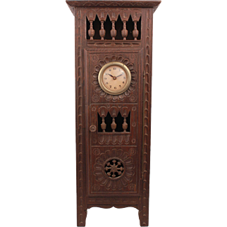 Exquisite French Brittany Huge Antique Clock Armoire Doll Furniture In Oak Wood Circa 1880 17.72""