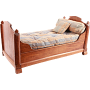 Exquisite Antique French Wood Doll Bed Bedding Furniture With Mattress and Pillow Filled With Feather