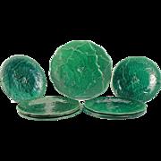 Gorgeous Green Antique French Majolica Gien Grapevine Signed Set for desert Circa 1920