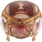 Wonderful French Antique Notre Dame du Chêne Jewelry Convex Casket Trinket Glass Box Ormulu Brass 19th Century