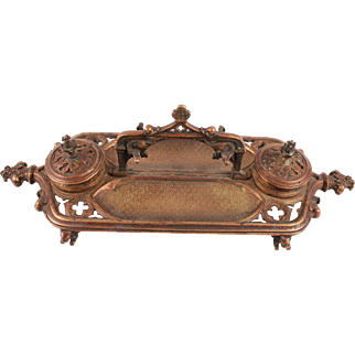 Magnificient French Antique Gothic Solid Bronze Inkwell Circa 1860