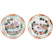 Rare Antique French Pair of Handpainted Decorative Limoges Plates With French Castle Scenery Signed R.Matteron